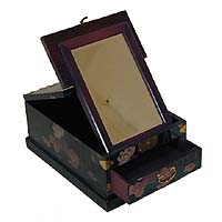 Black Floral Cosmetic Box - open