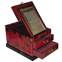 Red Two Drawer Cosmetic Box - open