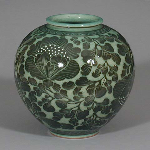 Dark Lotus Celadon Jar