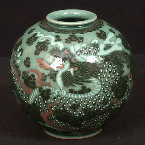 Dragon Celadon Jar