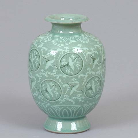 Oval Crane & Cloud Celadon Jar (style 2)