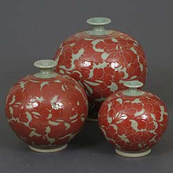 Narrow-neck Red Lotus Celadon Jar - three sizes