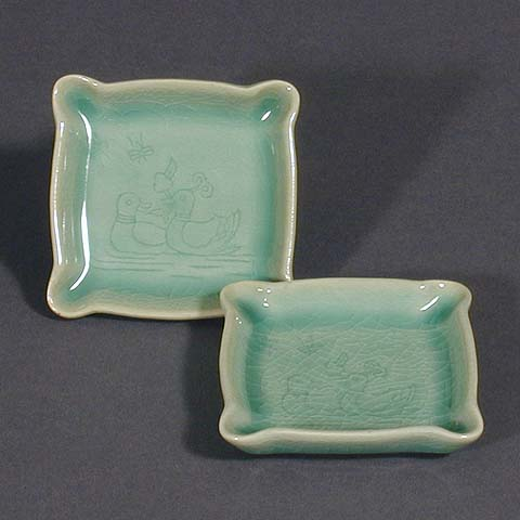 Two Ducks Celadon Plates
