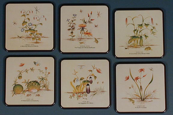 Grass & Moth Paintings Coasters