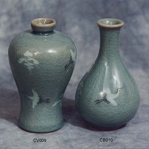 Crane & Cloud Vase & Bottle