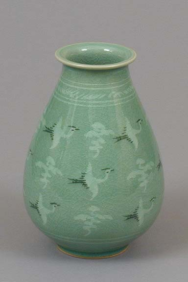 Flying Cranes and Clouds Teardrop Vase