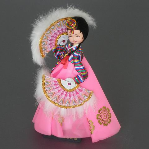 Fan Dance Doll-Pink Dress