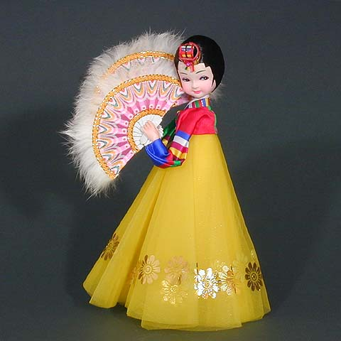 Fan Dance Doll - Yellow Dress
