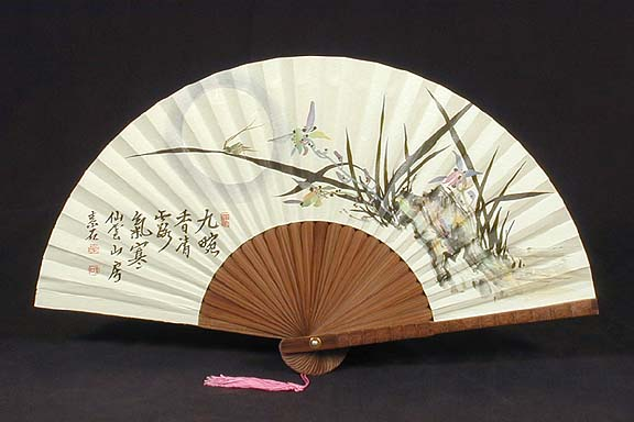 Wild Orchids Bamboo Fan