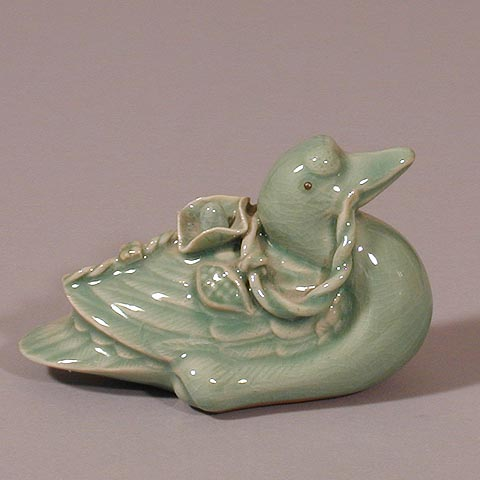 Traditional Celadon Duck Figurine