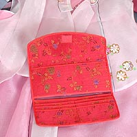 Floral Silk Handbag and Billfold (red) - open