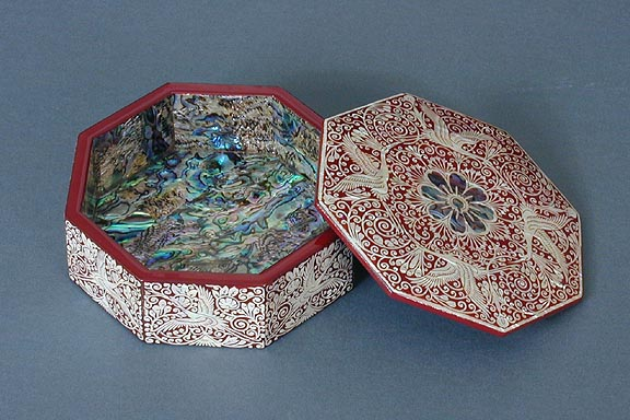 Octagonal Inlaid Mother of Pearl Box
