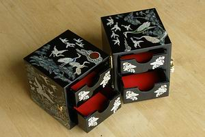 Mother of Pearl Cranes Folding Box-open