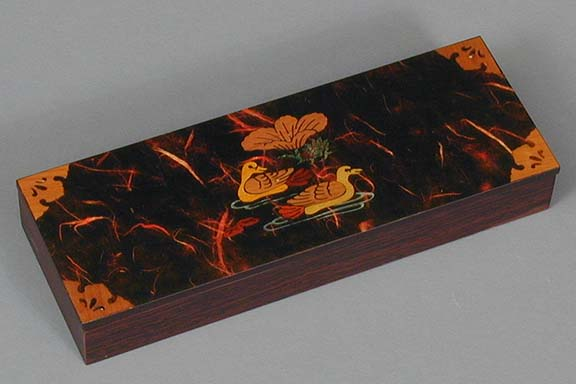 Dark Red Two Ducks Lacquered Box