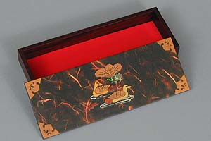 Dark Red Two Ducks Lacquered Box - open