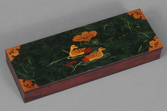 Dark Green Two Ducks Lacquered Box