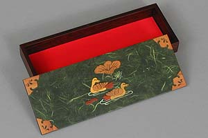 Dark Green Two Ducks Lacquered Box - open