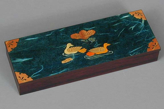Blue Two Ducks Lacquered Box