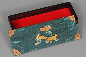 Blue Two Ducks Lacquered Box - open