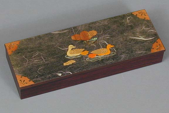 Olive Two Ducks Lacquered Box