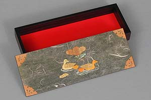 Olive Two Ducks Lacquered Box - open