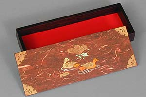 Red Two Ducks Lacquered Box - open