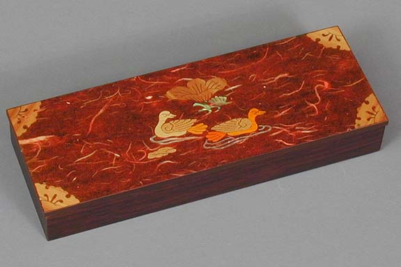 Red Two Ducks Lacquered Box