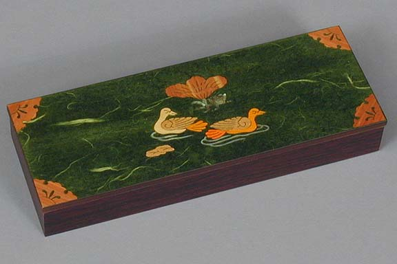 Green Two Ducks Lacquered Box