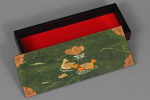 Green Two Ducks Lacquered Box - open