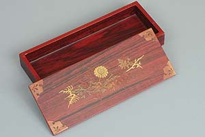 Inlaid Chrysanthemum Lacquered Box - open