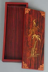Inlaid Bamboo Lacquered Box - open