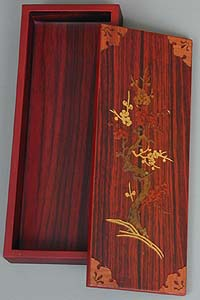 Inlaid Plum Blossoms Lacquered Box - open