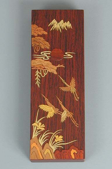 Inlaid Cranes to the Sun Lacquered Box