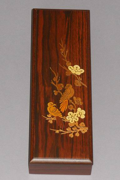 Inlaid Sparrows in the Cherry Blossoms Lacquered Box