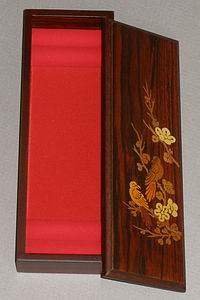 Inlaid Sparrows in the Cherry Blossoms Lacquered Box-open