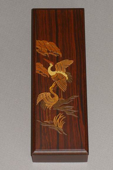 Inlaid Cranes Lacquered Box
