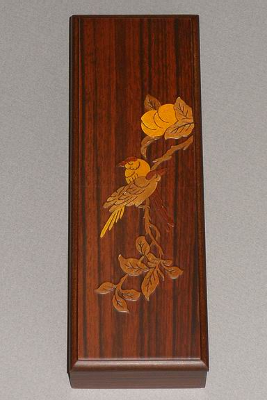 Inlaid Sparrows in a Peach Tree Lacquered Box