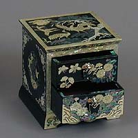 Two Drawer Black Jewelry Box - open