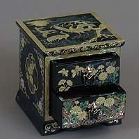Two Drawer Blue Cranes Rice-paper Jewelry Box - open