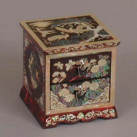 Two Drawer Red Cranes Rice-paper Jewelry Box