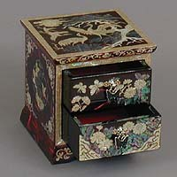 Two Drawer Red Cranes Rice-paper Jewelry Box - open