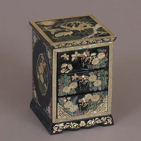 Three Drawer Blue Cranes Rice-paper Jewelry Box