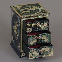 Three Drawer Blue Cranes Rice-paper Jewelry Box - open