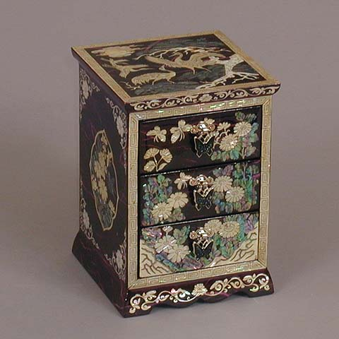 Three Drawer Purple Cranes Rice-paper Jewelry Box