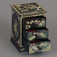 Three Drawer Purple Cranes Rice-paper Jewelry Box - open