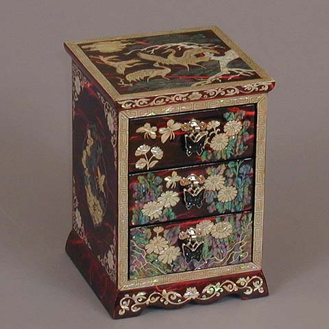 Three Drawer Red Cranes Rice-paper Jewelry Box