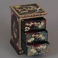 Three Drawer Red Cranes Rice-paper Jewelry Box - open