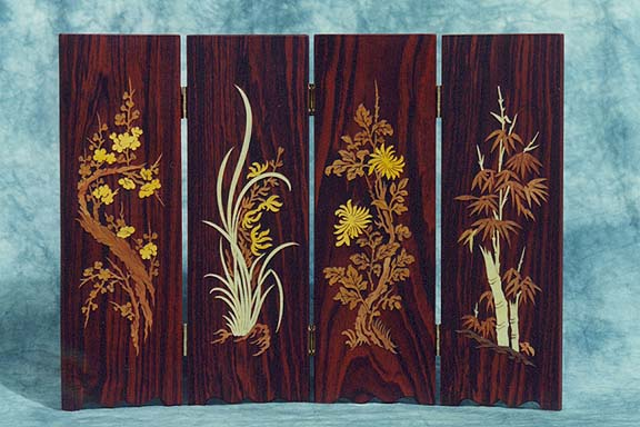 Four Seasons Inlaid Wood Screen