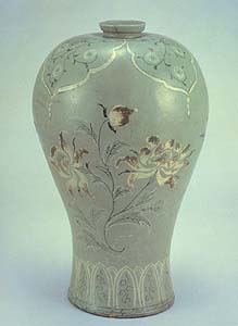Inlaid and underglaze painted Mae-byeong vase, 12th century